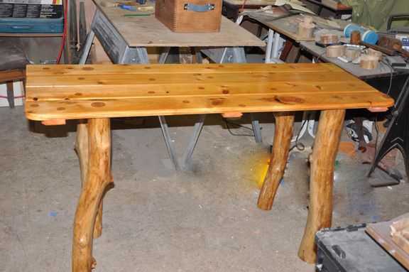 wooden table metal legs unfinished home depot tree limb hinged kitchen began live oak for sale