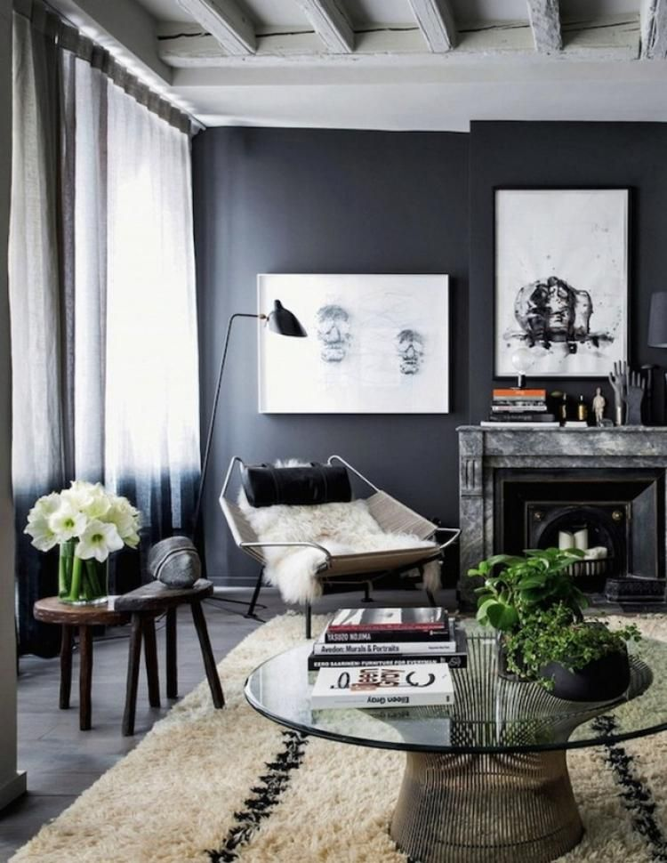 110 Fabulous Dark Grey Living Room Ideas To Inspire You Desain Interior Interior Dekor