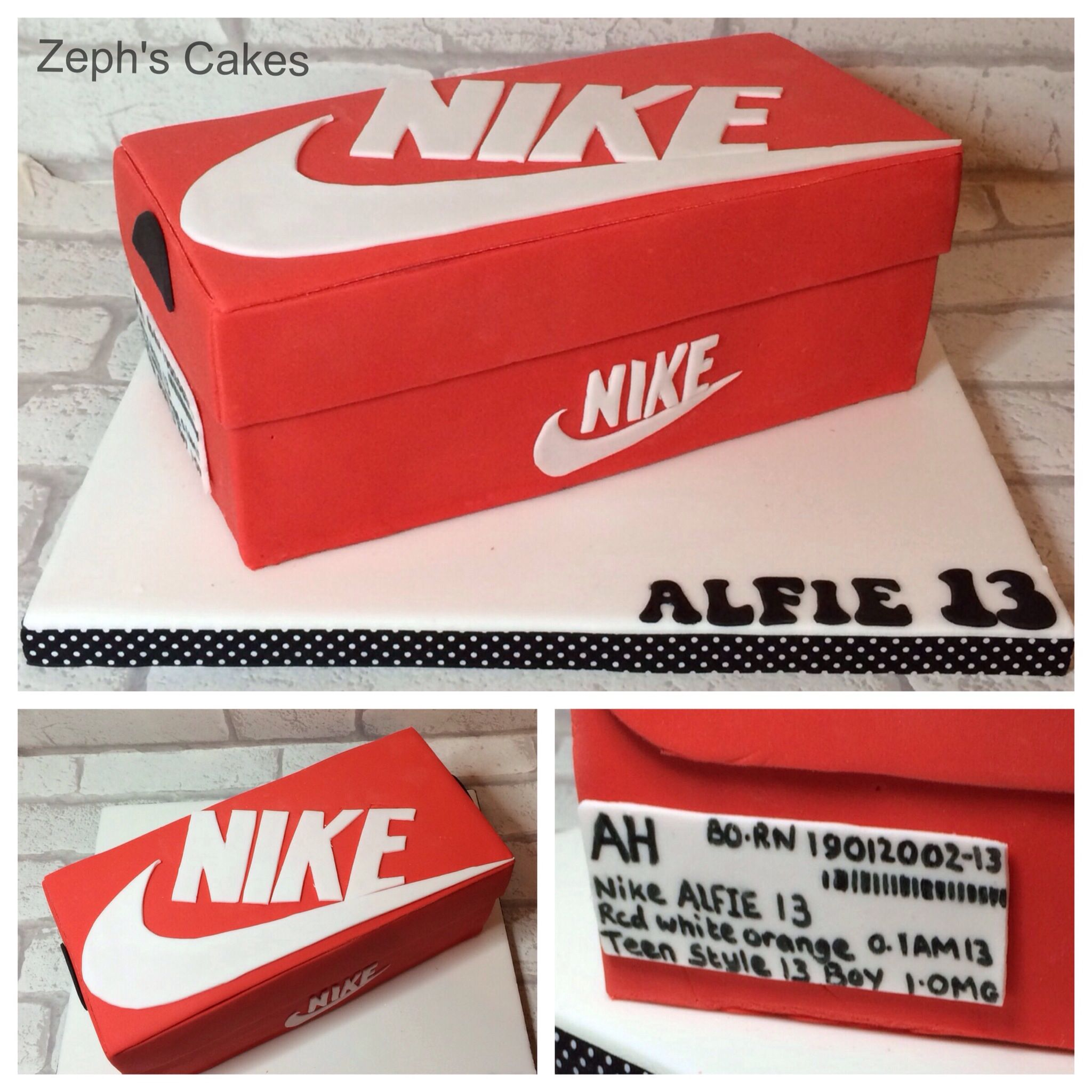 Nike shoebox cake all hand made all hand cut and all pletely