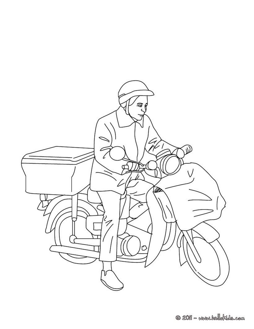 Postman on his postman bike coloring page. Amazing way for kids to ...