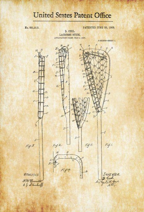 Lacrosse Stick Patent - Patent Print, Wall Decor, Lacrosse Art ...