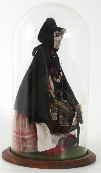 Figural Peddler Doll Under Dome : Lot 28
