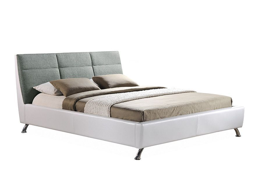 Baxton Studio Bruno White Grey Queen Size Platform Base Bed