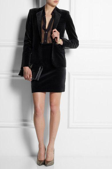 Black cotton-blend velvet Button fastening at front 72% cotton, 28% modal; lining: 100% silk Dry clean