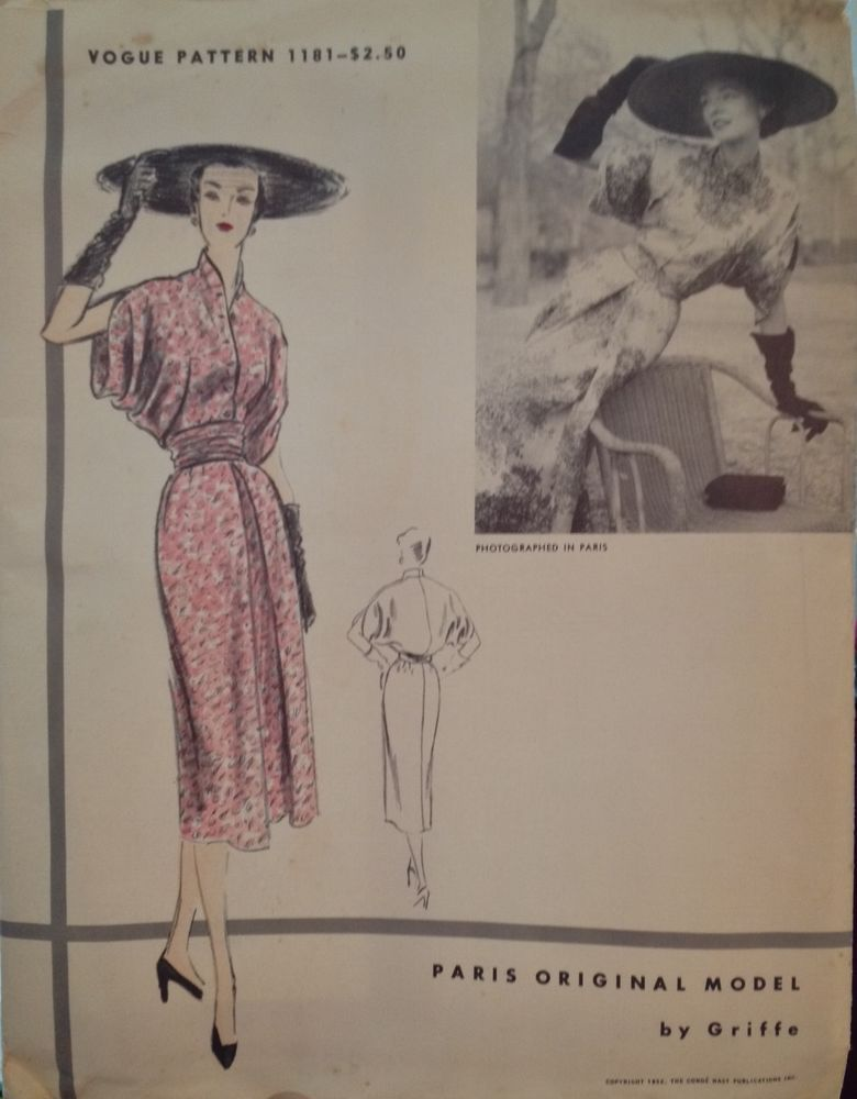 1952 Vintage Vogue Paris Original Model By Griffe No 1181 Size 12