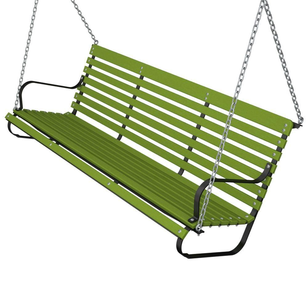 Ivy Terrace 60 In Black And Lime Patio Swing Ivs60fblli The Home Depot Patio Swing Red Patio Large Backyard Landscaping
