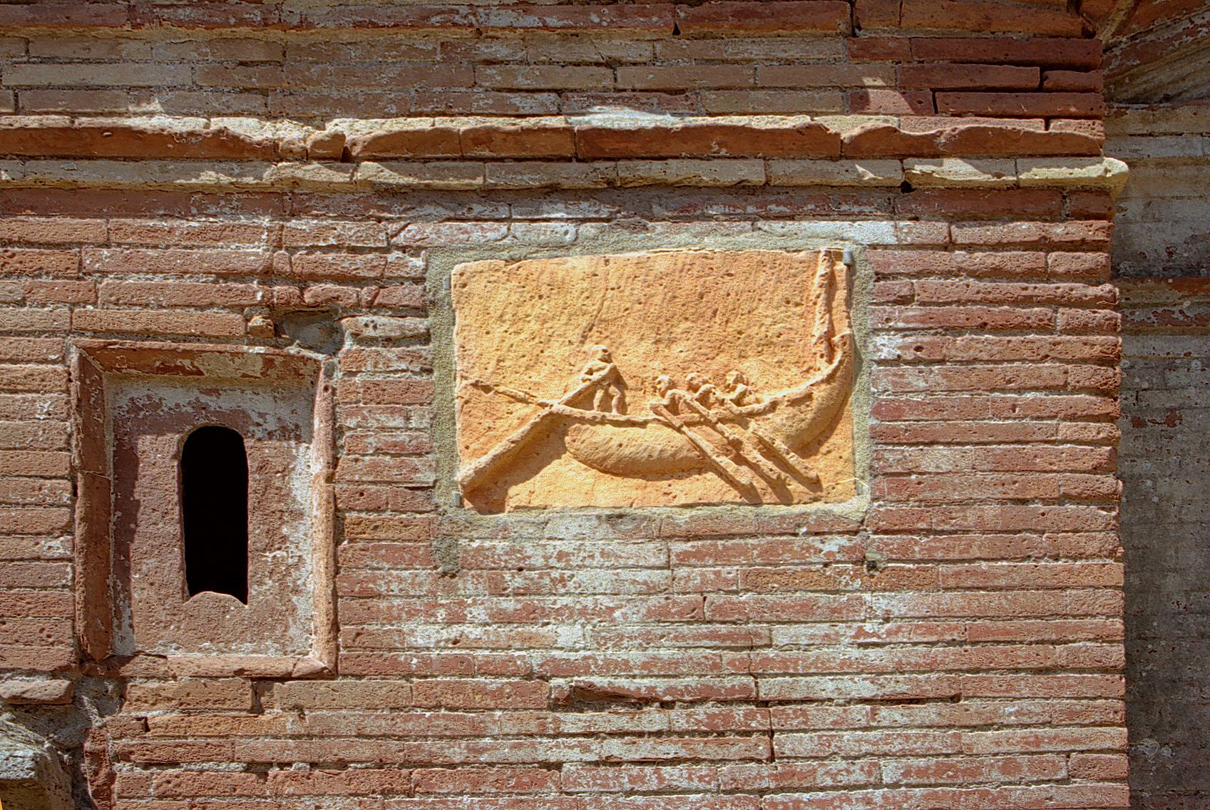 Toeletta Ostia ~ Clay plaque of a merchant ship from one of the tombs in ostias