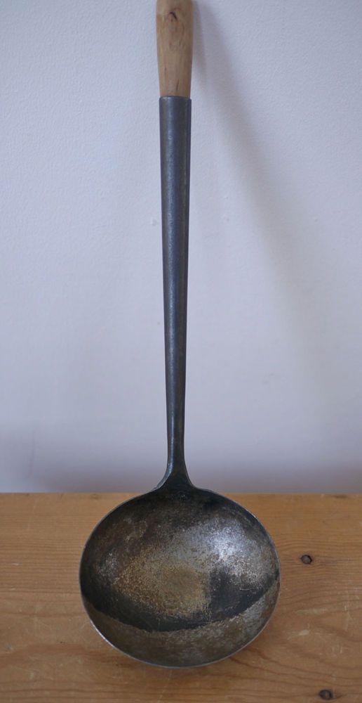 "Vintage Handmade Antique Primitive Steel Wood Handle Dipper Ladle 14"""