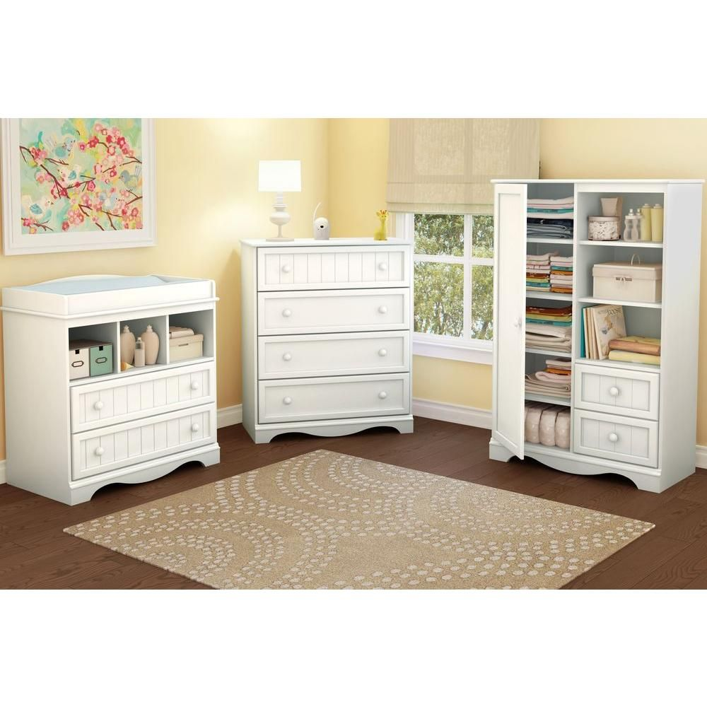 South Shore Savannah 4 Drawer Pure White Chest 3580034 The Home Depot Changing Table With Drawers Diaper Changing Table Kids Room Furniture [ 1000 x 1000 Pixel ]