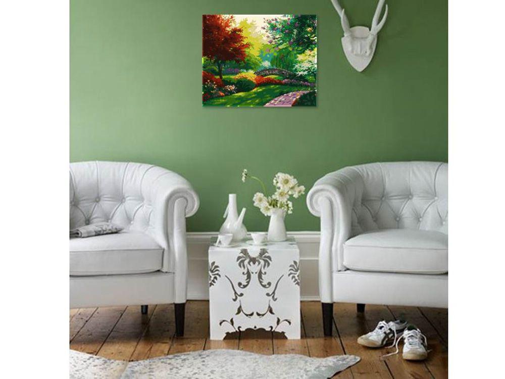 Картина по номерам «Осенний парк» | Зеленые гостиные, Идеи ...