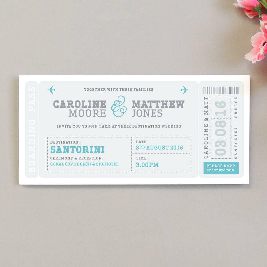 Airline Boarding Pass Wedding Invitation | Pinterest | Boarding pass ...