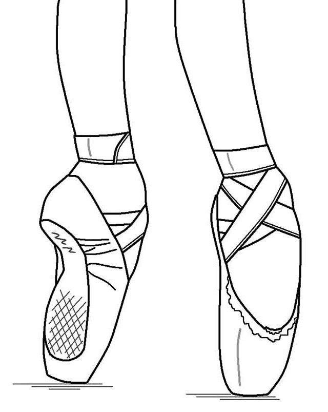 pointe ballet ballerina shoes coloring pages