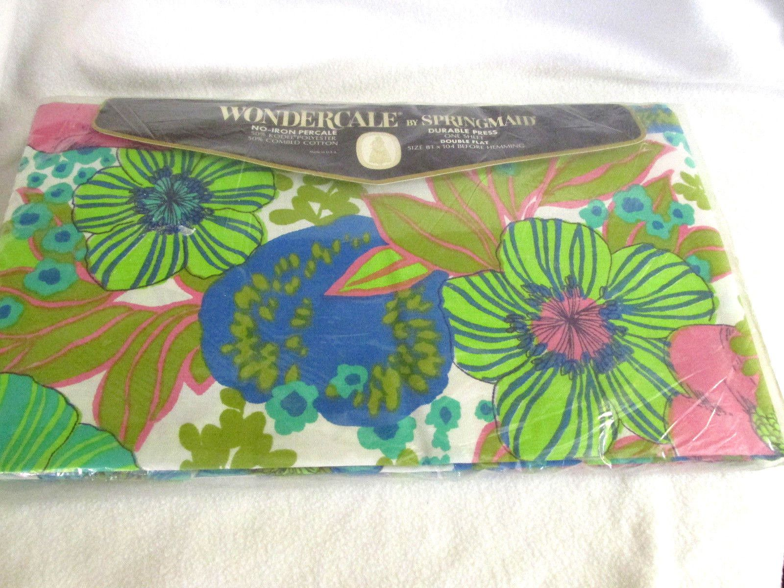 White and Green Striped Flat Sheet Blue Yellow NIP Vintage Pink