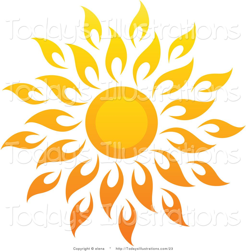 sun art vector clipart of a bright summer sun with petal rays 1 by elena 23 [ 1024 x 1044 Pixel ]