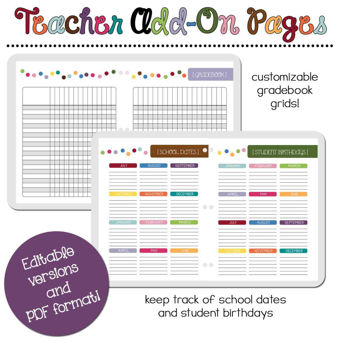 Product Spotlight :: Teacher Add-On Planner Pages