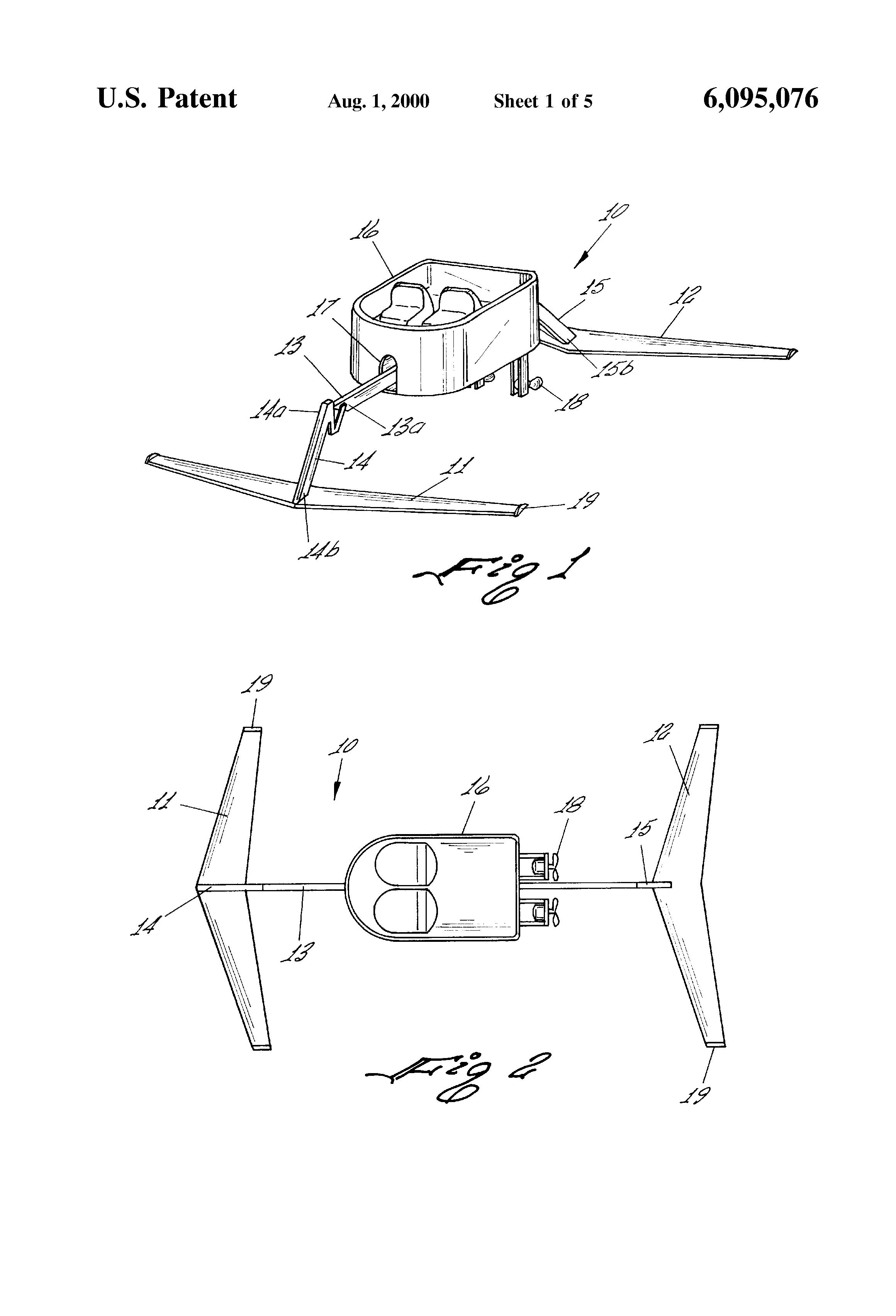 patent us6095076 hydrofoil boat google patents hydrofoils