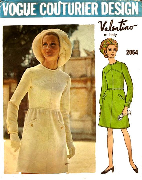 60s Valentino Mod Dress Vogue Couturier Design Sewing Pattern 2064 ...