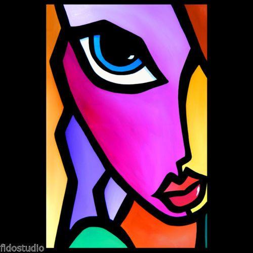 Accent original abstract huge modern pop art deco face painting by fidostudio art deco face - Deco pop art ...