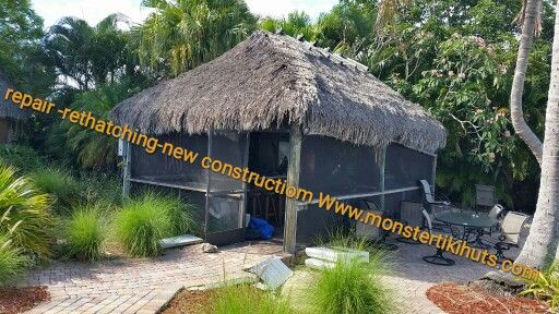 Repair Tiki Hut Re Thatching Available Http Www Monstertikihuts Com Service For All Of Florida Tiki Hut Florida Thatched Roof