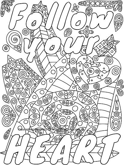Follow Your Heart Adult Coloring Page