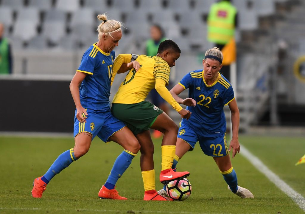 Refiloe Jane Of South Africa Tackled By Caroline Seger Of Sweden And Female Football Player Womens Football South Africa