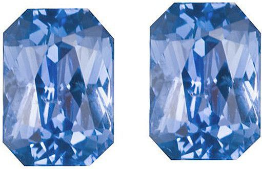 Blue Sapphire Loose Gemstone Pair, Emerald Cut, 6.8 x 4.8 mm, 2.56 Carats at BitCoin Gems