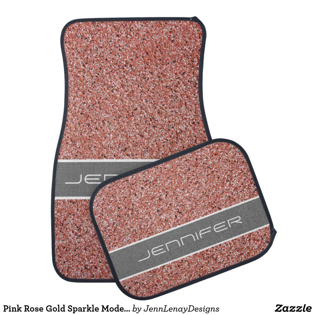 Pink Rose Gold Sparkle Modern Custom Name Car Floor Mat