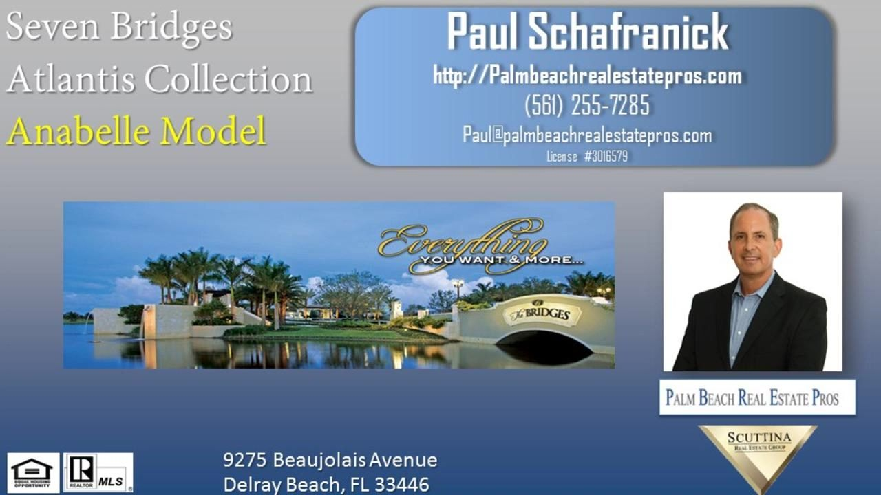 Seven Bridges Boca Raton Anabelle Model  https://gp1pro.com/USA/FL/Palm_Beach/Delray_Beach/Seven_Bridges/9275_Beaujolais_Avenue.html  Seven Bridges features high-end finishes that makes each home unique in the community. Floor plan designs range from 2,450 to over 7,879 square feet. The four collections are Atlantic, Pacific, Coastal & Empire. Each home is equipped with gourmet kitchens, granite counter-tops, ceramic floor time, upscale bathrooms, recessed lighting and much much more. Call…