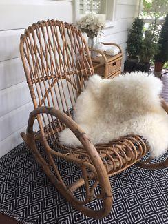 089a7ededaa8 Franco Albini Style Rattan Rocking Chair
