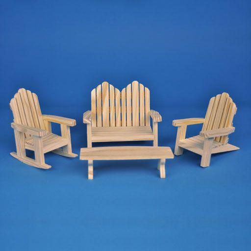 Dollhouse Miniature Adirondack Chair in Natural Wood