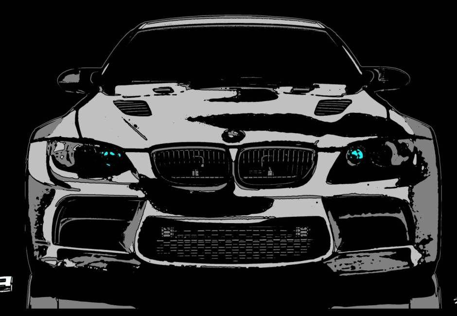 Tableau voiture peinture bmw m3 noir blanc moderne cars for Peinture interieur voiture
