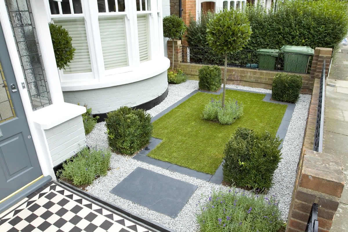 Superbe Front Garden Ideas Pebbles Garden Minimalist Grass Area And White Pebble  Space For Small