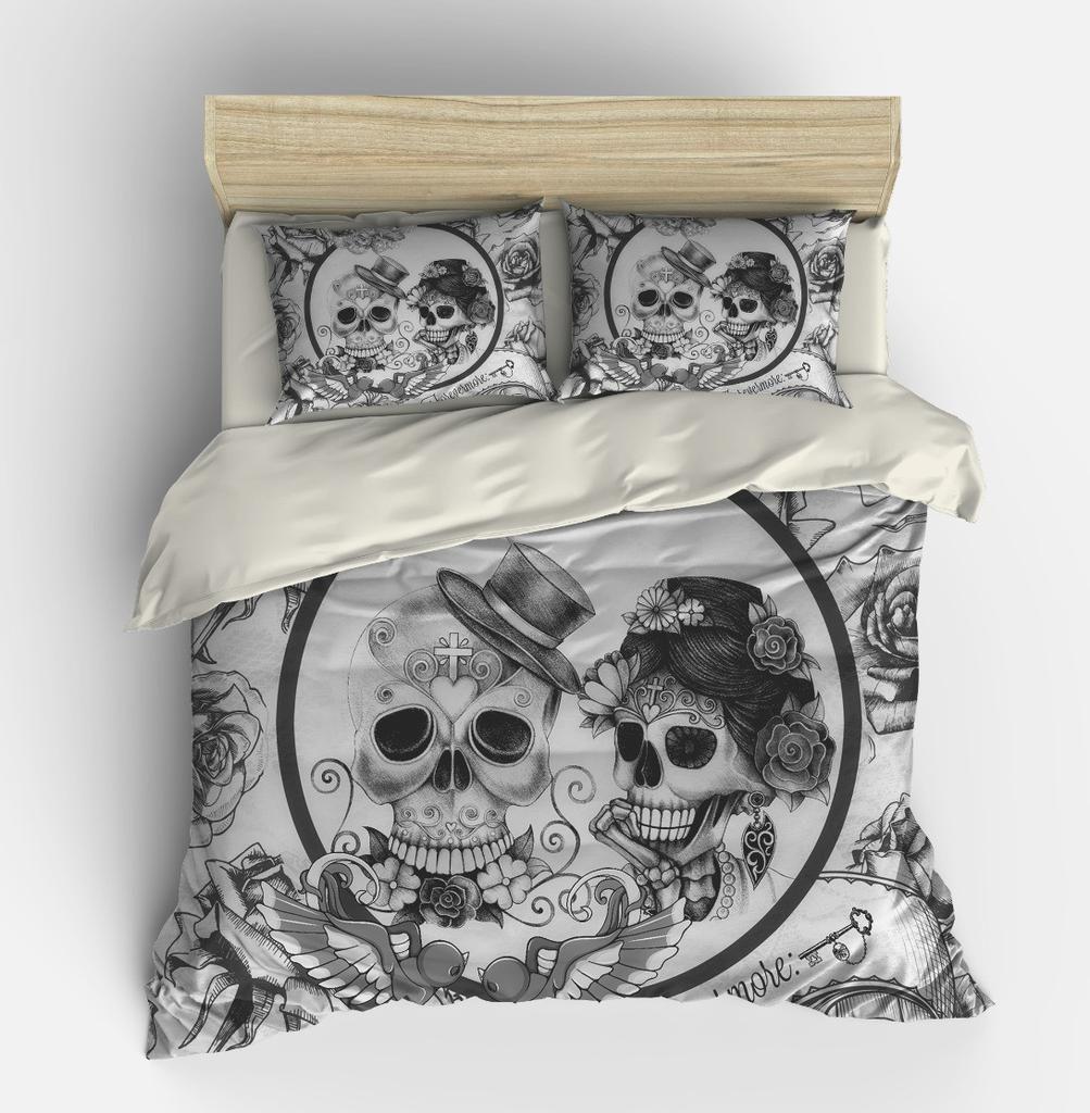 Skull Bedding , Duvet Comforter Cover Set , Black White