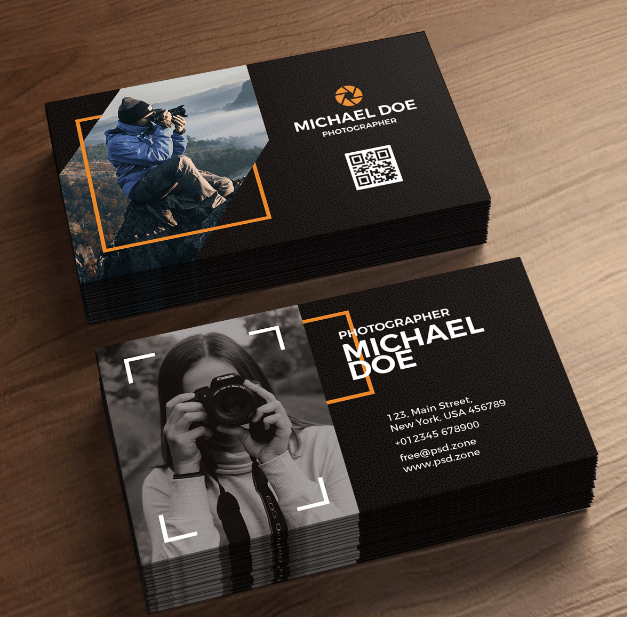 Croissant Photography Business Cards Freebie PSD Templates – Graphic design PH-65