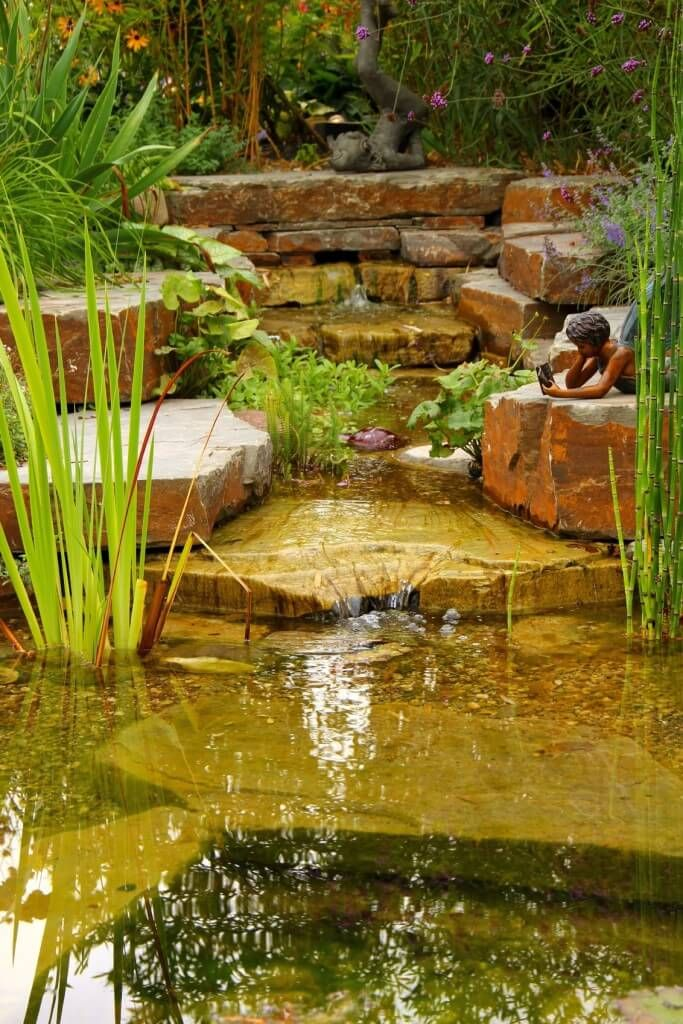 Stone pillows. The sound of a gentle waterfall | Backyard ... |Gentle Waterfall Pond