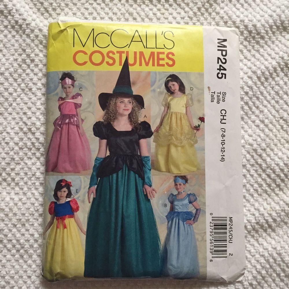 mccalls pattern mp245 girls costume size 7 8 10 12 14