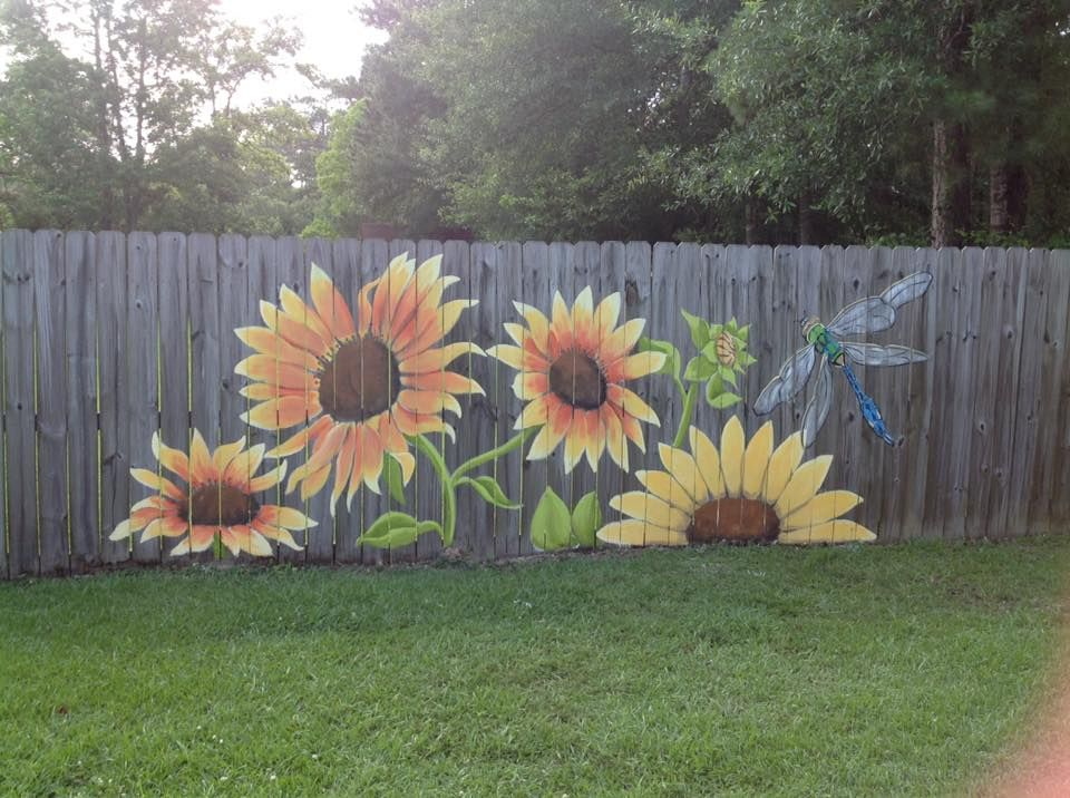 Great Way To Spruce Up An Ugly Fence Yard Art