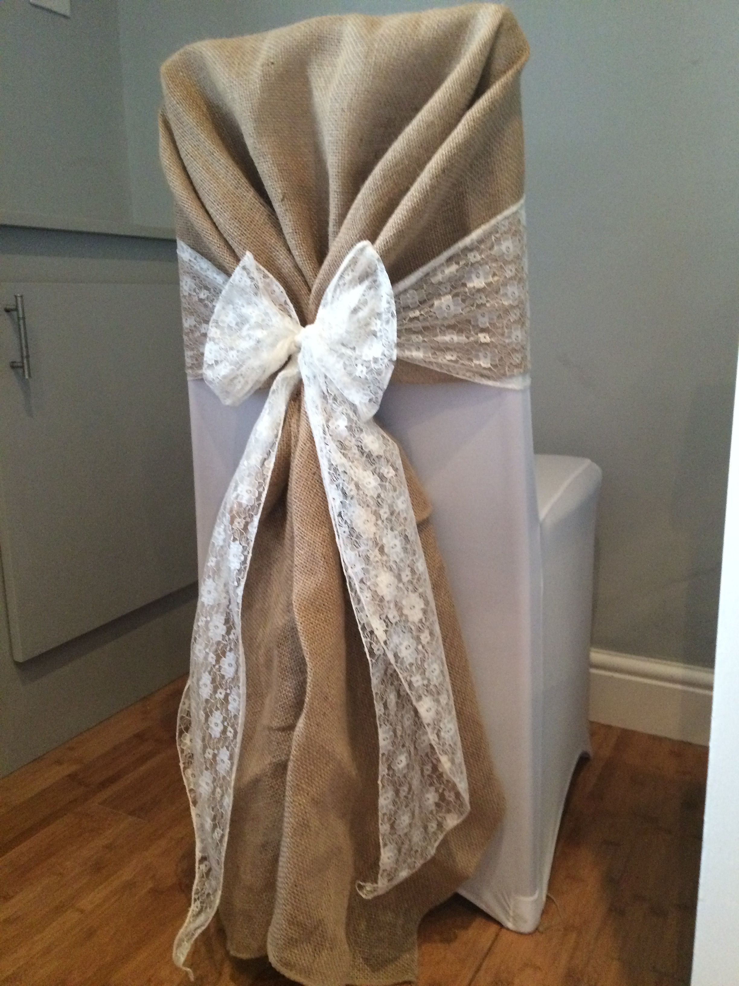 Chair cover with hessian hood and white lace sash Hire in south