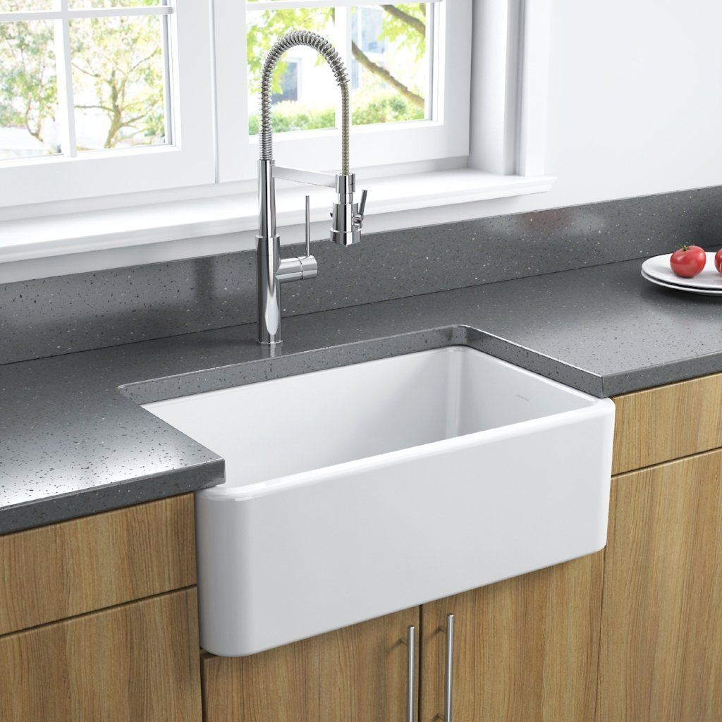 30 White Apron Front Kitchen Sink in 2020 Fireclay