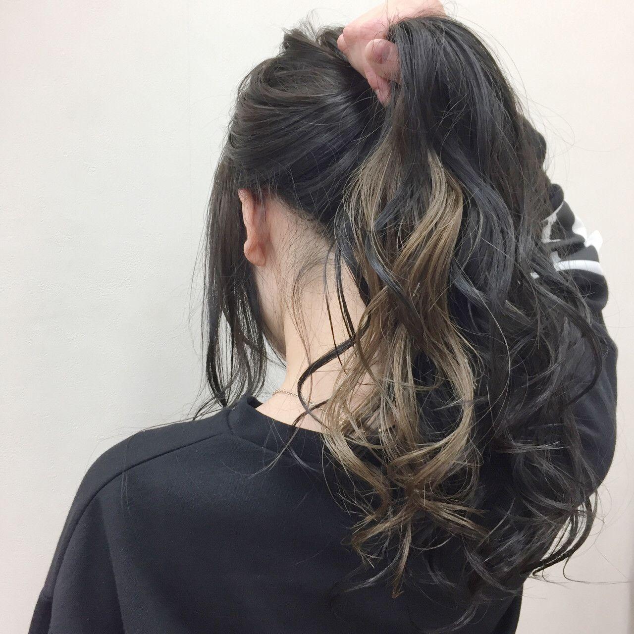 秋冬カラー ナチュラルミルクティーインナーカラー 黒髪