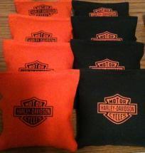 Corn Hole Bags Harley Davidson Logo Orange Black Duck