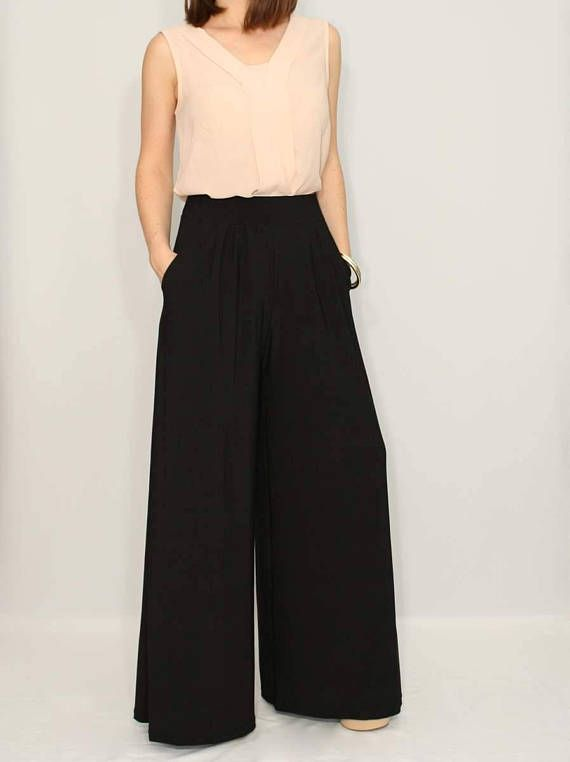42a19348f8 Wide leg pants women Black pants with pockets Office wear High waisted  pants women trousers