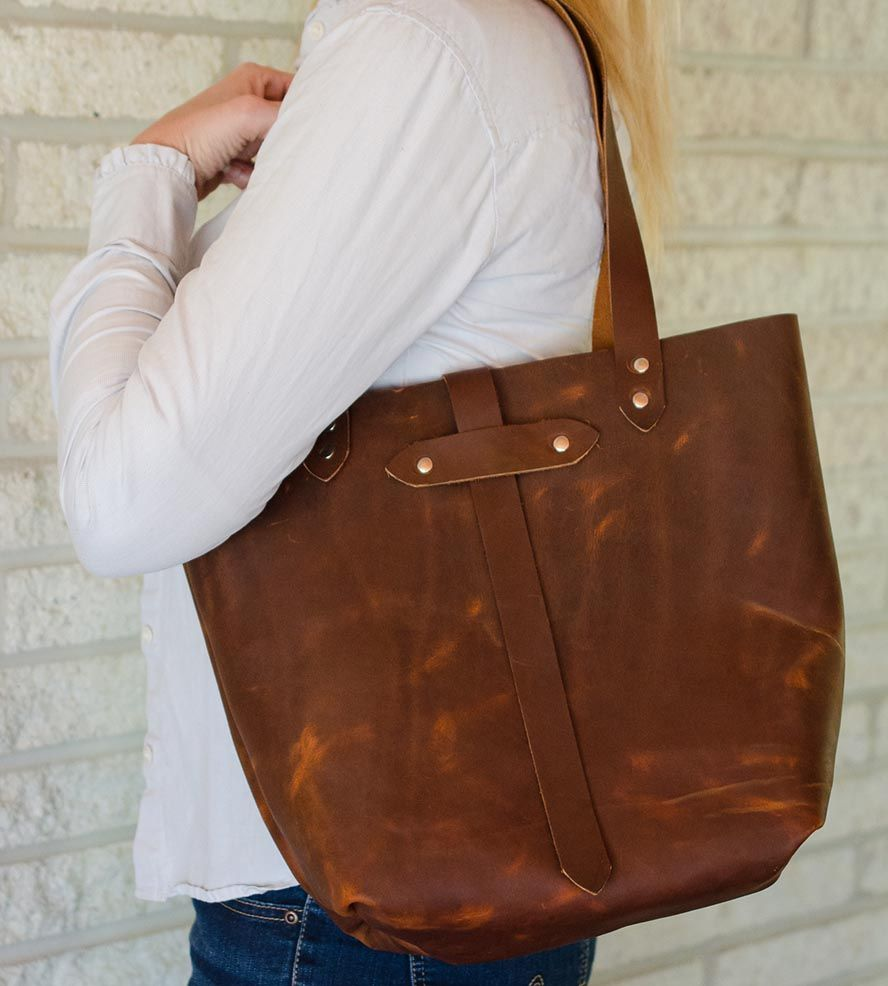 Leather Distressed Tote Bag