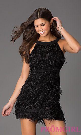 Short Sleeveless Little Black Fringe Dress At Fringes Dresses