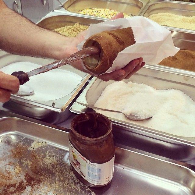 Gustosoksa's photo on Instagram. Kurtoskalacs - Chimney cake - Trdelnik - Kurtosh - Baumstriezel - Nutella - www.kurtos-kalacs.com