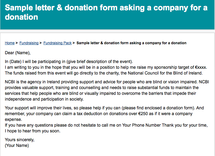 A Sample Letter For Asking Companies For Money  Donation Letter