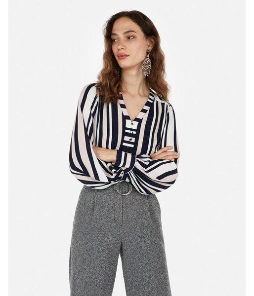 9cee0035ce Striped Button Front Blouson Sleeve Chelsea Popover Stripe Women s ...
