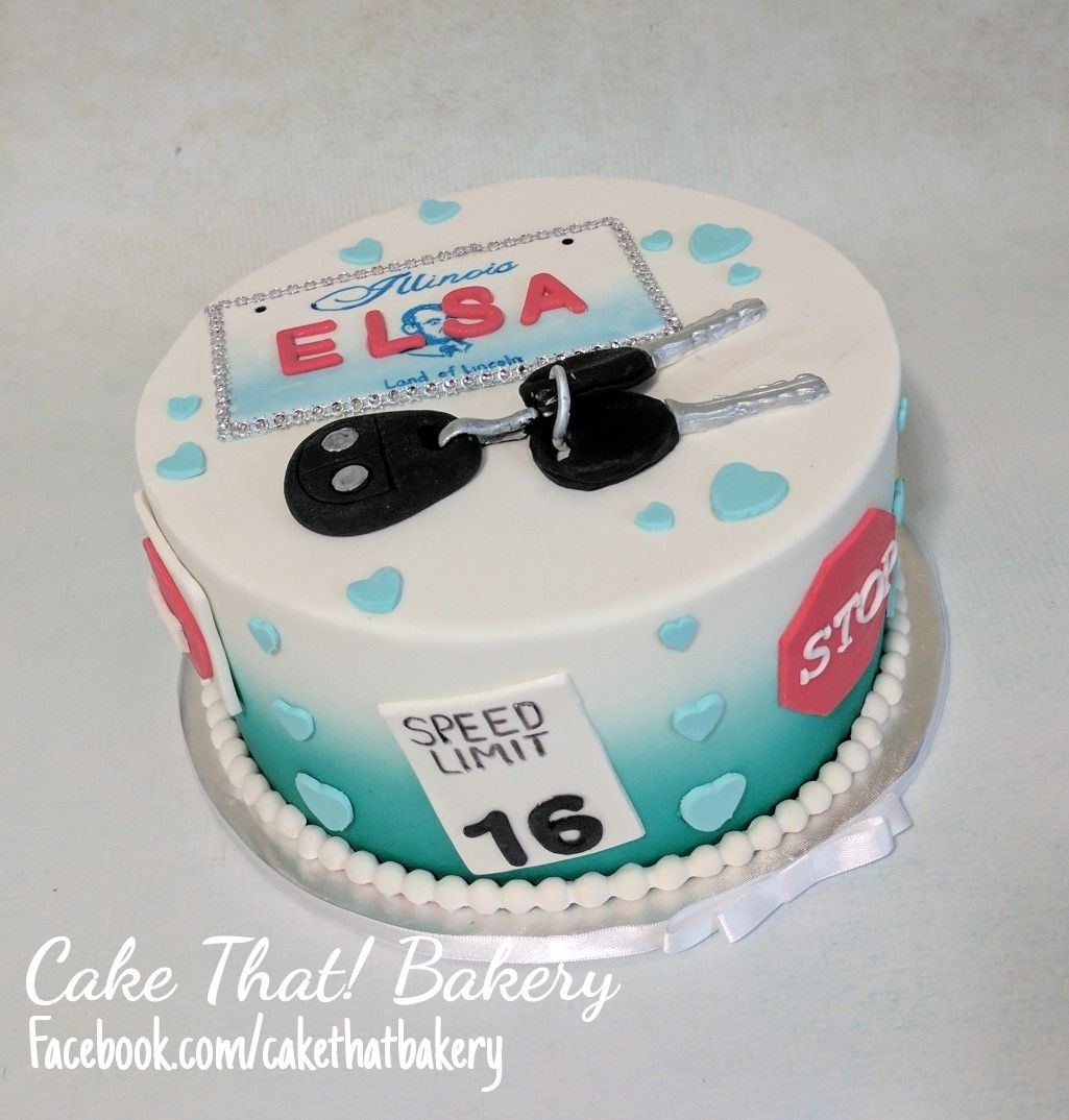 Sweet 16 Driving Cake Car Keys Cake License Plate