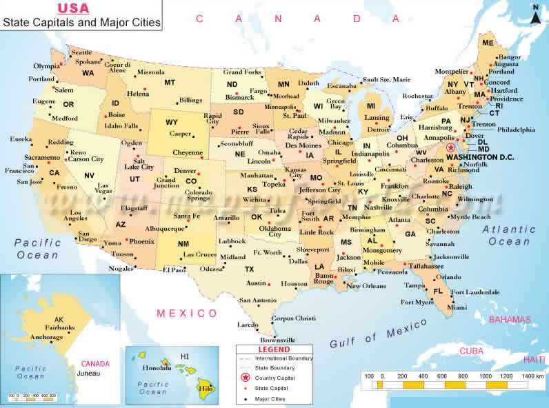 US Largest Cities Map God bless the USA Us state map