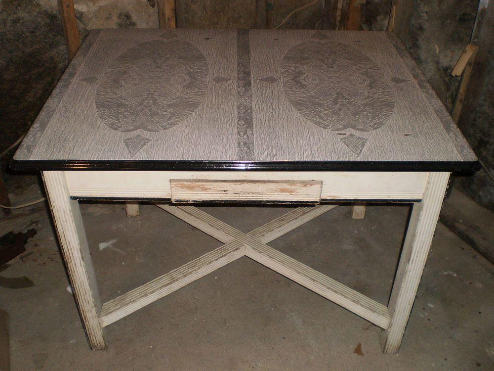 Vintage Black White Grey Porcelain Enamel Metal Top Kitchen Table T